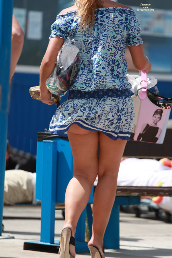 Pic #1 - Windy Upskirt On Street , Upskirt, Street Voyeur, Blue Dress