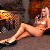 Nude Bedroom Decore - Big Tits, Blue Eyes, Heels, Long Legs, Tan Lines, Naked Girl