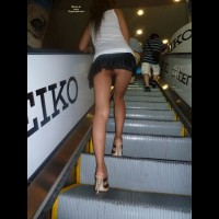 No Panty Upskirt - Heels, Long Legs, Upskirt, Bald Pussy, Sexy Legs
