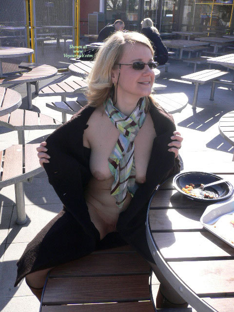 Pic #1 - Flashing In A Restaurant - Blonde Hair, Flashing Tits, Flashing, Large Aerolas, Pale Skin, Sunglasses , Small Sunglasses With Rope, Natural Boobs, Multicolored Scarf, Boots, Pale Skin Tone, Black Sunglasses, Black Overcoat, Flashing Outside Cafe, Flashing Outdoors, Flashing The Front Of Her Body