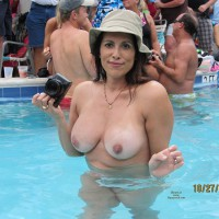 Naked Girl In Pool With Camera - Big Tits, Erect Nipples, Topless