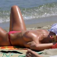 Topless MILF Asleep On Beach - Blonde Hair, Long Legs, Milf, Topless, Beach Voyeur, Sexy Legs