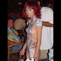 Bodypainted Tits At Fantasy Fest - Pierced Nipples, Small Tits, Topless