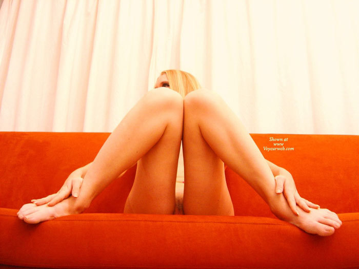 Pic #1 - Naked Blond Girl On Orange Couch Barefeet And Knees Together - Blonde Hair, Long Hair, Long Legs, Sexy Feet, Sexy Legs , Naked Woman With Knees Together, Beaver Shot, Legs Splayed On Couch, Knees Touching Pussy Shot, Long Finger Nails, Looking Over Right Shoudler, Seductively Shy, Between The Legs Pussy View, Feet Spread Wide With Knees Together, Skinny Thin Legs, Sitting On Orange Couch