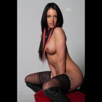 Squatting Topless And Bottomless Profile - Black Hair, Long Hair, Perfect Tits, Stockings, Topless