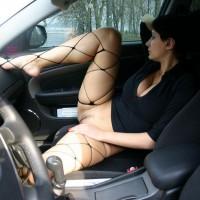 Wife Flashing Pussy In Codriver Seat - Dark Hair, Flashing, Landing Strip, Spread Legs, Stockings, Nude Wife