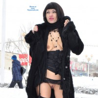 Public Flashing In Winter - Black Hair, Dark Hair, Exhibitionist, Flashing Tits, Flashing, Landing Strip, Small Tits, Topless