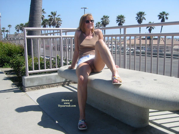 Pic #1 - Showing Pussy , Showing Pussy, Public Show, Outdoor Exposure, No Panties Outside, Sitting On Bench, Crotch Shot