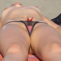 Wearing Panty While Sunbathing Topless - Landing Strip, Shaved Pussy, Topless