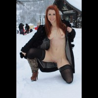 Flashing In Snow - Exhibitionist, Flashing, Nude In Public, Stockings, Topless, Bald Pussy, Hairless Pussy