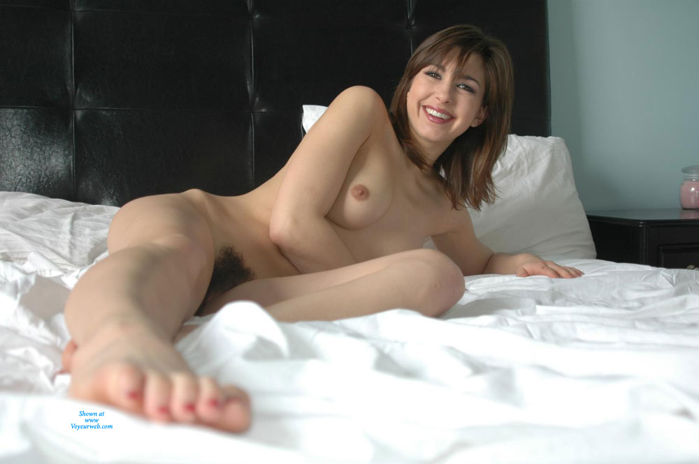 Pic #1 - Nude Woman On Bed - Sexy Woman , Heart-shaped Bush, Smiling, Delicious Toes, Hairy Pussy, Frontal Nude On Bed, Fantastic Smile, Natural Bush, Kissable Feet., Toes Toward Camera, Beaver Babe, Suckable Toes