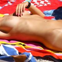 Beach Babe - Blonde Hair, Milf, Nude Beach, Perfect Tits, Shaved Pussy, Tan Lines, Bald Pussy, Beach Voyeur, Naked Girl