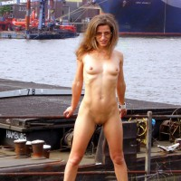 Naked At The Docks - Brown Hair, Nude Outdoors, Shaved Pussy, Small Breasts, Sunglasses, Naked Girl, Nude Amateur, Small Areolas