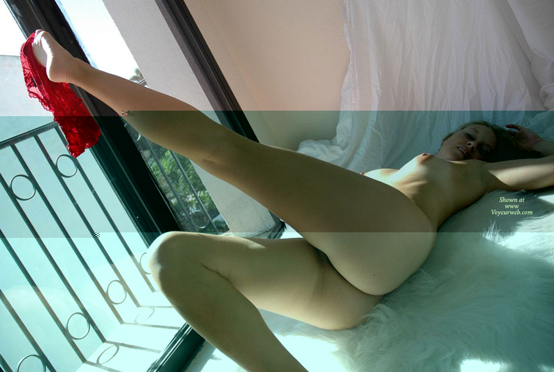 Pic #1 - Hot Girlfriend Teasing Pose On Bed - Blonde Hair, Long Hair, Long Legs, Round Ass, Naked Girl, Nude Amateur , A Leg Up, Red Panties Dangling On Toes, Nude, Lovely Long Legs, Naked In Bed, Round Plump Ass, Puffy Nipple, Nice Body