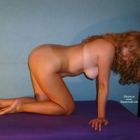 Naked Redhead Kneeling On All Fours - Blue Eyes, Doggy Style, Long Hair, Red Hair, Tan Lines, Naked Girl, Nude Amateur