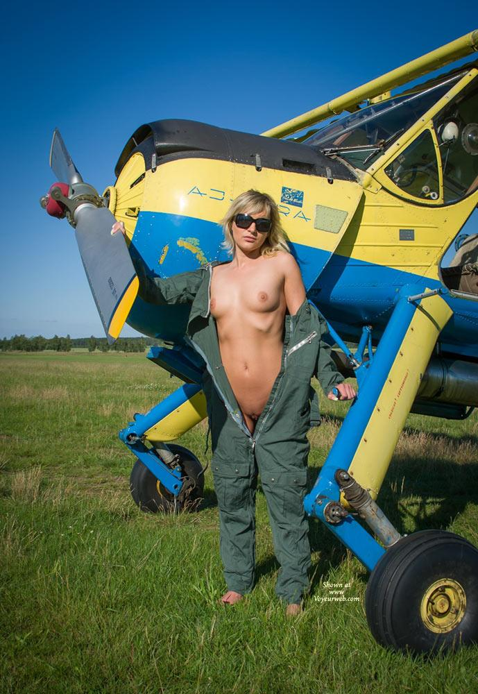 Pic #1 - Airplane - I - Blonde Hair, Nude Outdoors, Small Tits, Dressed, Teens , Some Guys Asked For Another Shooting With Stephanie At The Airstrip. Enjoy Her Cute Body And Smiling Face.