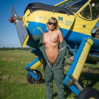 Airplane - I - Blonde Hair, Nude Outdoors, Small Tits, Dressed, Teens