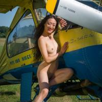 Airplane - II - Asian Girl, Flashing, Small Tits, Dressed