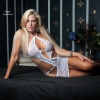 Vikki in White - Big Tits, Blonde Hair, Sexy Lingerie