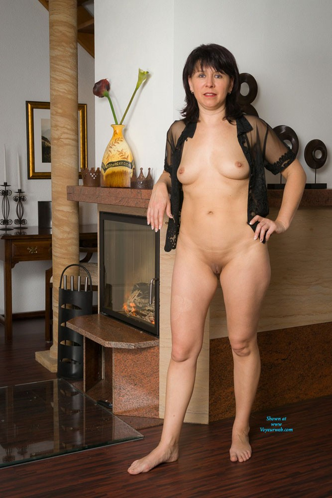 Pic #1 - Fireplace - Brunette Hair, Shaved , Some Pictures Warming Me Up Beside My Fireplace.
