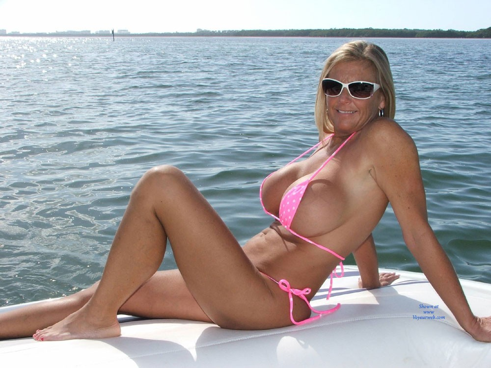 Pic #1 - Chrissy On The Boat - Big Tits, Bikini , Chrissy Usually Is Not Very Comfortable Riding Around In A Very Tiny Bikini, But On This Day, She Did Not Seem To Mind, As Well As Me Getting Some Shots!  Enjoy... I Sure Did!