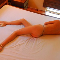Topless Laying On Bed Overhead View - Blonde Hair, Heels, Long Legs, Topless, Sexy Ass