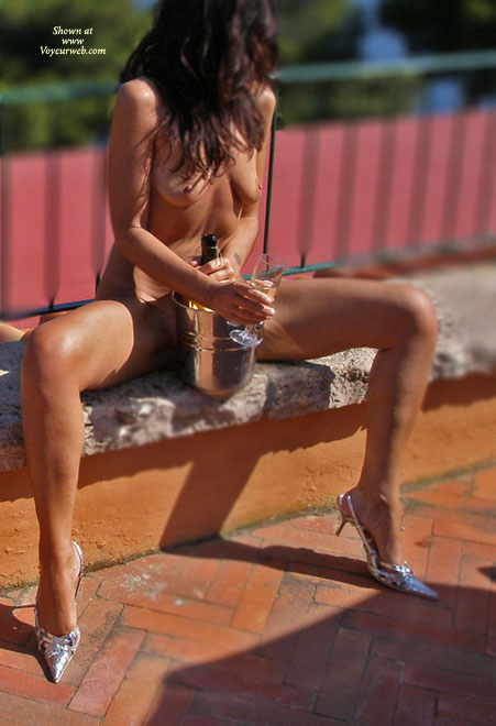 Pic #1 - Naked Brunette Outside On Bench With Champagne - Brown Hair, Brunette Hair, Hard Nipple, Heels, Long Hair, Long Legs, Small Breasts, Spread Legs , Small Saggy Breasts, Long Brown Hair Naked, Sitting On A Ledge, Silver High Heels, Spread Legs With Champagne Bucket, Pancake Tits And Hard Nipples, Naked Long Slender Legs