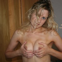 Squeezing Boobs - Perky Nipples, Topless, Looking At The Camera