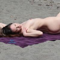 Nude Beach Afternoon - Brunette Hair, Pussy Lips, Shaved, Beach Voyeur