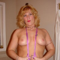 Jasmine in Hot Pink Sling - Big Tits, Blonde Hair, Pussy Lips, Sexy Lingerie