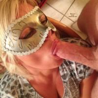 Lady K's Masked BJ - Blonde Hair, Blowjob