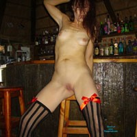 Fun in The Bar at Home - Brunette Hair, Hard Nipple, Long Legs, Natural Tits, Pussy Lips, Shaved, Small Tits, Sexy Lingerie, Costume
