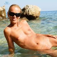 Makarska Riviera - Blonde Hair, Close Up, Hard Nipple, Pussy Lips, Shaved, Small Tits, Wet, Beach Voyeur, Sexy Ass