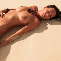 Mila in Paradise - Beach, Big Tits, Brunette, Beautiful Ass, Firm Ass, Hard Nipples, Long Legs, Masturbation, Natural Tits, Pussy, Shaved, Wet