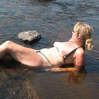 At The River - Big Tits, Blonde Hair, Mature, Beach Voyeur