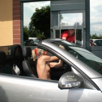 Nude Drive-through - Blonde Hair, Exhibitionist, Flashing, Nude In Public, Topless, Naked Girl, Nude Amateur