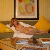 Reclining Redhead Milf Naked On Couch With Robe Open - Milf, Natural Tits, Red Hair, Small Tits, Naked Girl, Nude Amateur