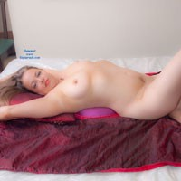 Naked Blonde Lying on Bed Waiting for Someone - Bed, Big Tits, Blonde Hair, Full Nude, Nipples, Tattoo, Sexy Figure, Sexy Legs