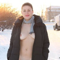 Nude Voyeur Wearing Coat on a Snow - Big Tits, Brunette Hair, Erect Nipples, Exposed In Public, Flashing, Naked Outdoors, Nude In Public, Young Woman