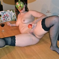 Short Hair Milf in Stockings with Wine and Apple Wearing a Mask - Milf, Shaved Pussy, Stockings, Toys