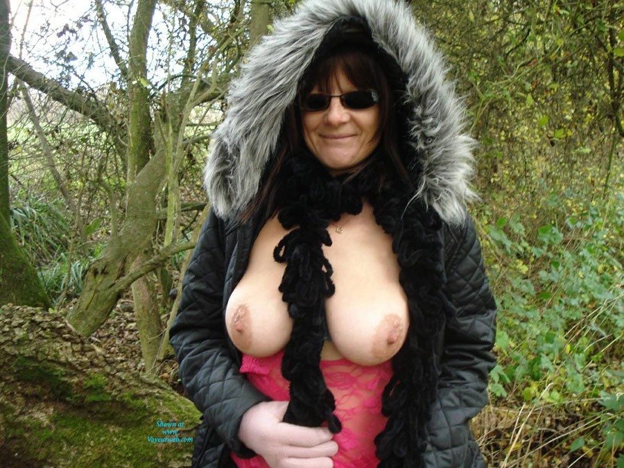 Pic #1 - Winter Walk - Big Tits, Nude In Public, See Through , Out Walking On A Cold Day But Always Ready To Do A Little Flashing