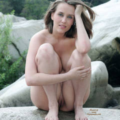 Squatting On Rock - Blue Eyes, Nude Outdoors, Shaved Pussy, Naked Girl, Nude Amateur