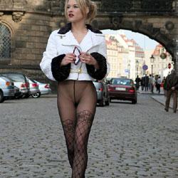 Sandra Public Pantyhose - Blonde, Lingerie, Public Exhibitionist, Public Place