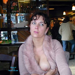 Flashing Big Tits At The Bar - Big Tits, Brunette Hair, Exposed In Public, Flashing Tits, Flashing, Huge Tits, Large Breasts, Nude In Public, Showing Tits, Hot Girl, Sexy Boobs, Sexy Face