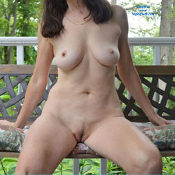 Breathing Fresh Air Nakedly - Big Tits, Brunette Hair, Full Nude, Hanging Tits, Huge Tits, Large Breasts, Nipples, Trimmed Pussy, Sexy Boobs, Sexy Legs, Sexy Woman, Wife/Wives