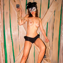 Nude Masked Woman - Artistic Nude, Brunette Hair, Nipples, Showing Tits, Small Breasts, Small Tits, Topless Girl, Topless, Sexy Body, Sexy Boobs, Sexy Figure, Sexy Girl, Sexy Legs, Sexy Woman, Costume