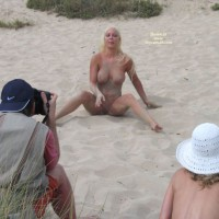 Nude Pose On The Sand - Big Tits, Blonde Hair, Huge Tits, Long Hair, Shaved Pussy, Spread Legs, Naked Girl, Nude Amateur