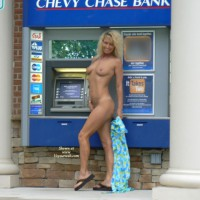 Nude Girl In Front Of ATM - Blonde Hair, Nude In Public, Small Tits, Naked Girl, Nude Amateur