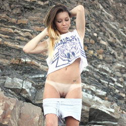 Vivienne - Brunette, European And/or Ethnic, Firm Ass, Medium Tits, Natural Tits, Outdoors, Pussy, Shaved, Young Woman
