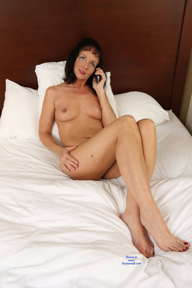 Pic #1 - Abby's Fun In The Nude Phone Session - Big Tits, Brunette Hair, Shaved , Brunette, Natural Tits, Naked, Shaved Pussy!